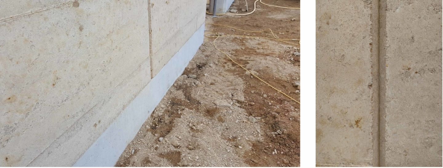Left - Concrete plinth protects wall within 'splash zone'.        Right - Movement joint between panels.